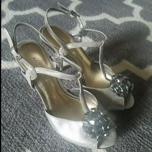 Silver Antonio Melani t-strap heels w/jewels